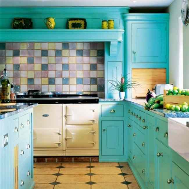 Turquoise Kitchen Cabinet Systems Multiple Color Tiles Backsplash Blue Countertop Cream Vinyl Floor Looks Like