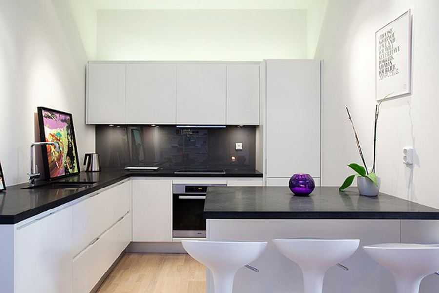 Ultra Modern Kitchen Design With Luxurious Black Kitchen Countertop And  White Cabinets A Black Counter Kitchen