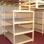 Unfinished wood shelves units for basement