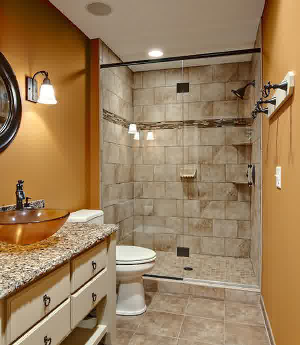 walk in shower without door with old look white tiles floor and wall system wall mount