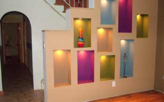 Wall niche ideas with sweet and beautiful color spot lighting
