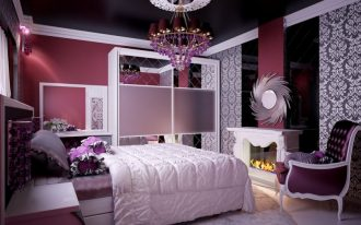 White bedcover purple bedding idea white bedroom rug a corner chair in purple a fireplace with decorative mirror on top classic pattern wallpaper beautiful pendant chandelier