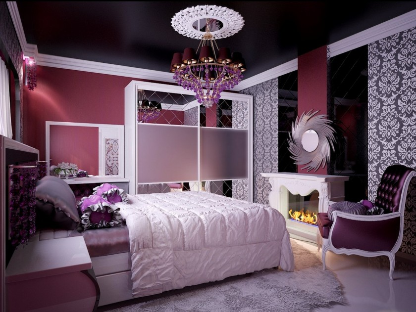 White Bedcover Purple Bedding Idea White Bedroom Rug A Corner Chair In  Purple A Fireplace With