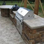 White marble countertop with gas stove for outdoor use
