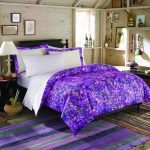 Wood made wall system purple bedcover white strips bedding purple and black strips bedroom rug black round bedside table with table lamp