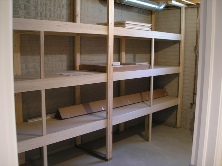 Wooden Shelving Unit No Staining For Basement