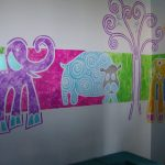adorabl washable paint for wall with elephant and goat and giraffee and tree picture in colorful mode