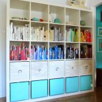 adorable built in expedit storage binds design with white and blue accent beneath bookshelves on wooden floor
