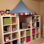 adorable expedit storage bins design for kids with unique umbrella and colorful green and pink bins