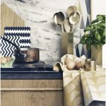 adorable ferm living usa kitchen design with modern chevron patterned kitchen tool and unique spoon with brown place and ethnic look sacks