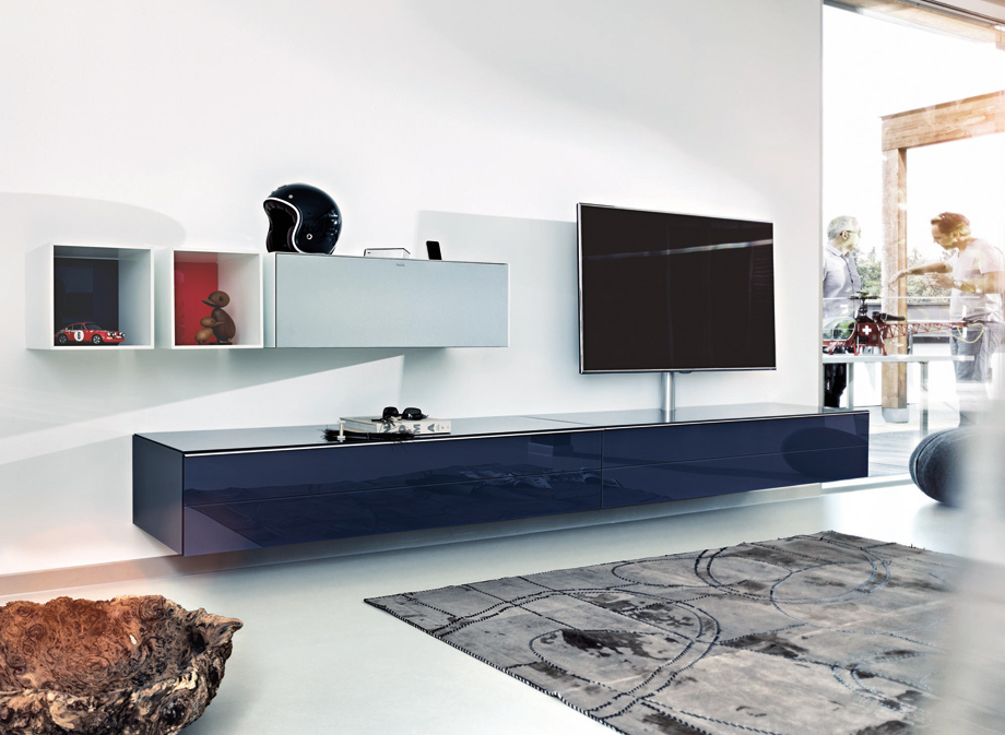 Adorable Navy Blue Long Media Cabinet Design Beneath White Wall Storage  Idea With Area Rug And