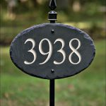 adorable oval black round board address plaques for home design with carved top and 23938 number