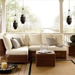 adorable rattan pottery barn couch design in open plan room idea with traditional lantern pendants and cream area rug with unique candelabrum