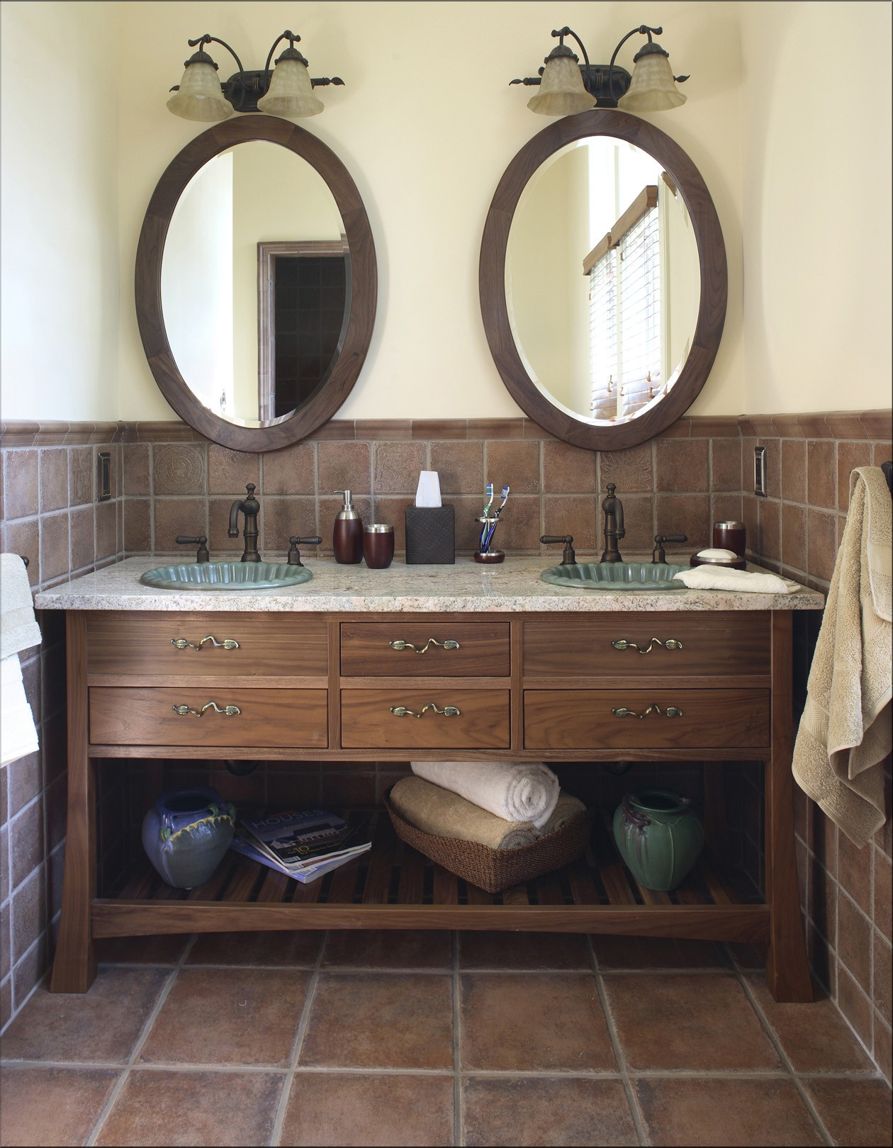 Adorable Vintage Bathroom Design With Rustic Wooden Vanity And Twin Woodne Framed Wall Mirror On Brown