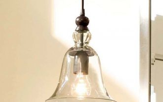 adorable vintage brown screw in pendant light of transparent shade with black metal stick