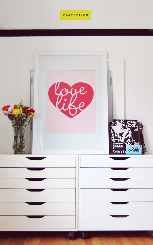 Adorable White Flat File Cabinet From Ikea With Unique And Lovable Pink  Heart Shape Decoration With