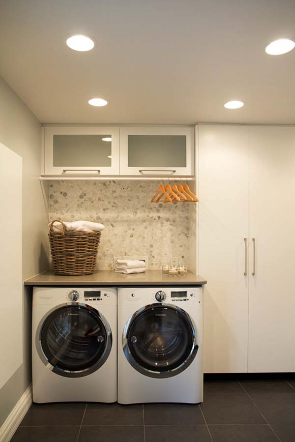 Adorable White Simple Laundry Room Idea With Smallest Stackable Washer Dryer Backsplash And Upper Cabinet