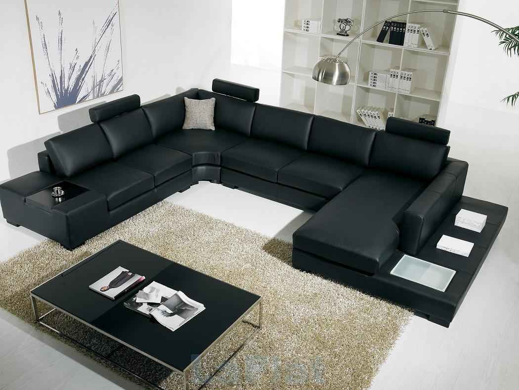 Affordable Black Leather Sectional Couches With Gl Top Coffe Table And Wooden Backcase Stylish