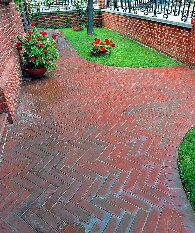 Affordable Brick Paver Calculator With Herringbone Pattern Plus Brick Gates  And Metal Fence Plus Green Grass