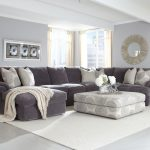 affordable grey sectional couches with decorative cushion and ottoman coffee table