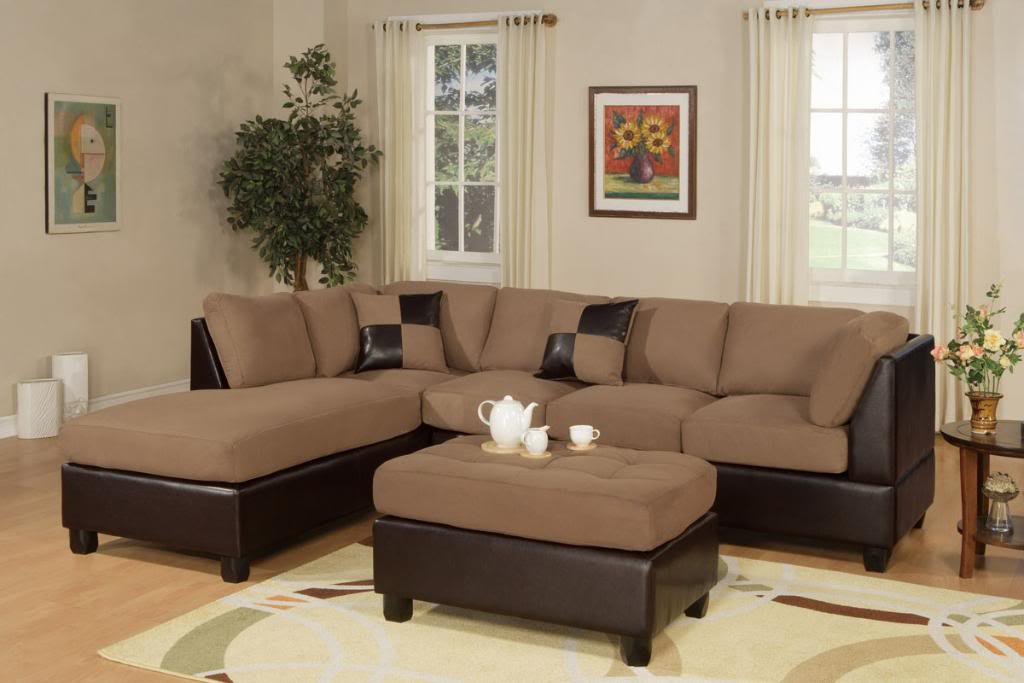 Affordable Sectional Couches In Brown With Ottoman Coffee Table And Soft  Rug Plus Wooden End Table