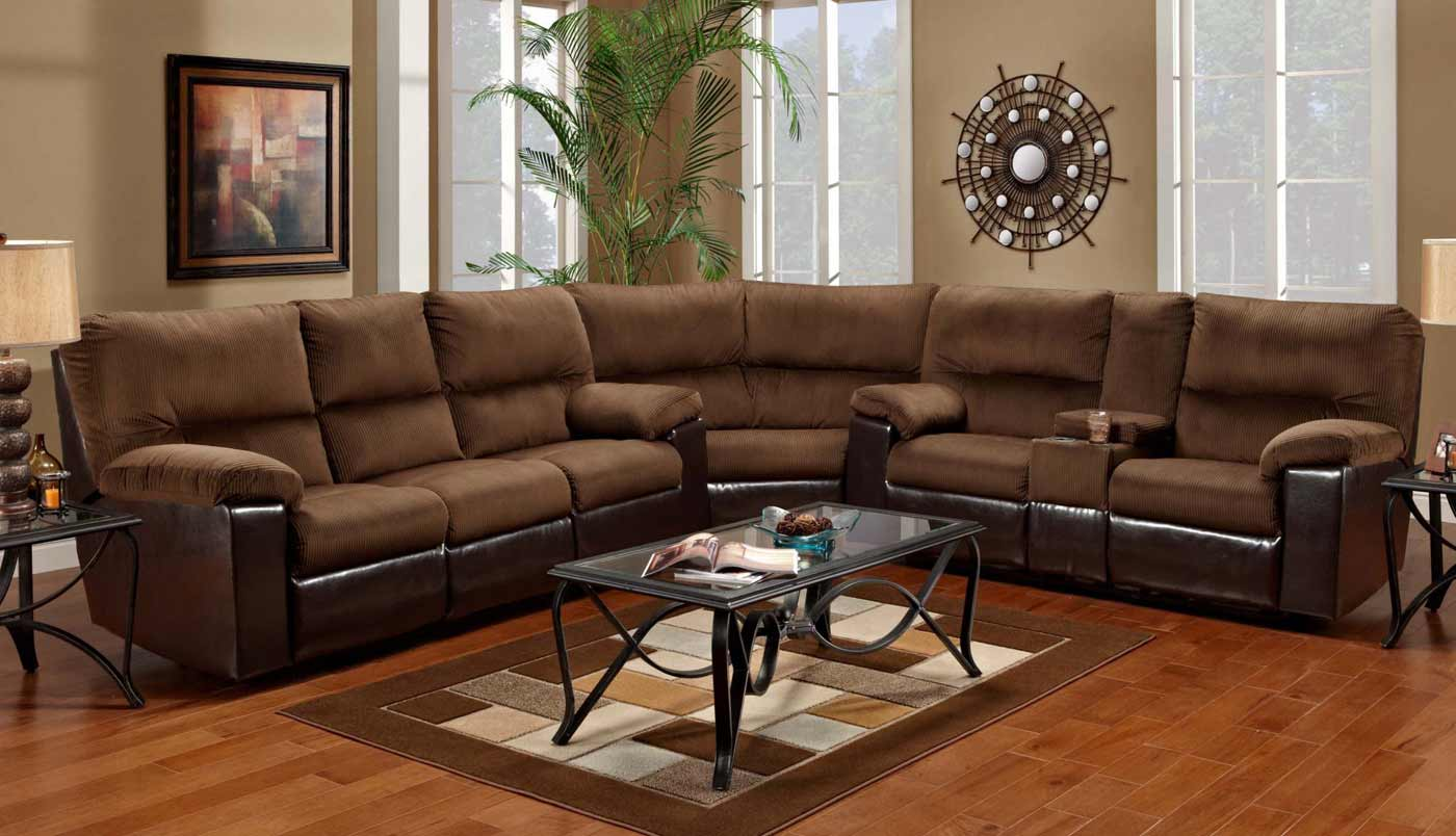 Affordable Sectional Couches In Cocoa Brown Combined With Metal Coffee  Table With Glass Top And Brown Part 19