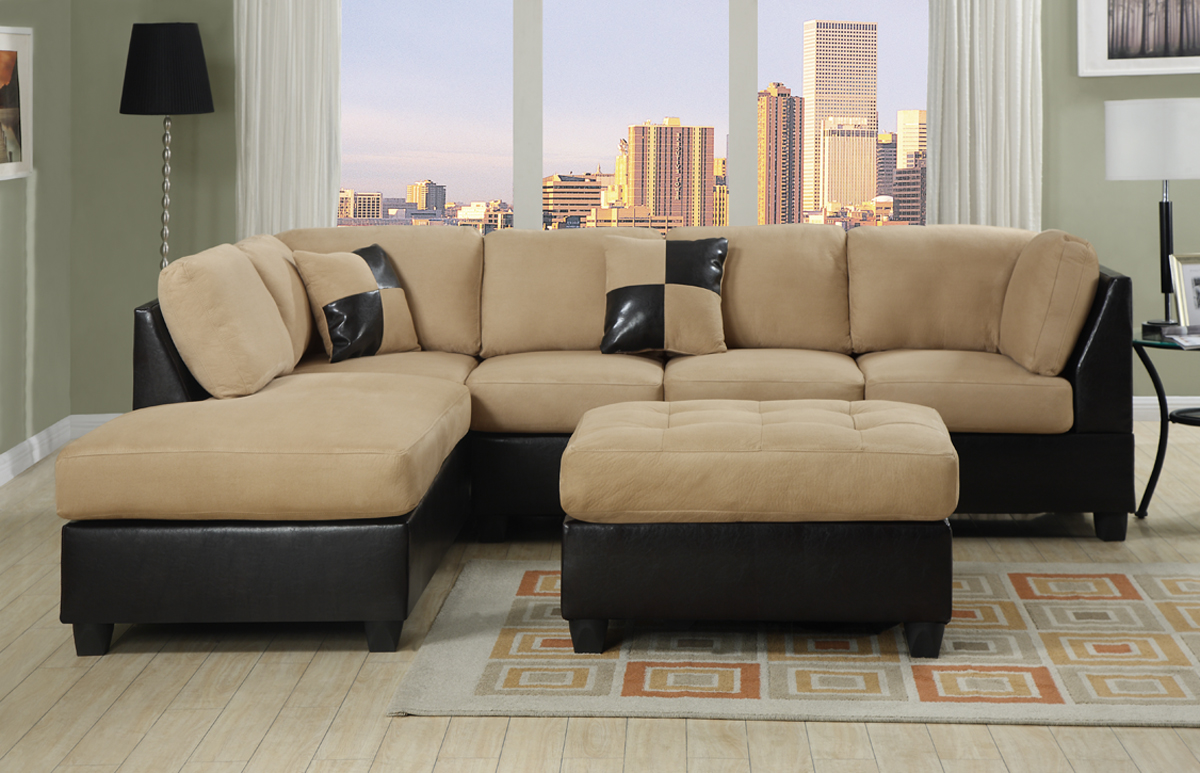 Merveilleux Affordable Sectional Couches With Decorative Cushion And Modern Rug Plus  Hardwood Floor And Large Glass Window