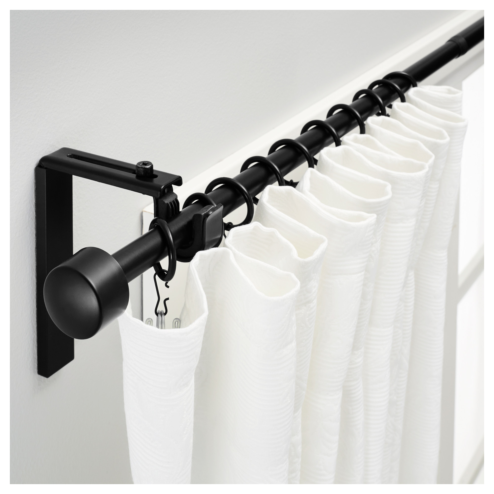 White double curtain rods - Amazing Black Rod Design With Curved Black Metal Tension Curtain Rod From Ikea With White Curtain