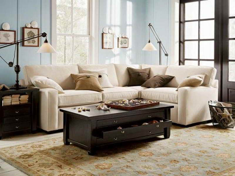 astonishing pottery barn couch design in white color in blue room with vintage coffee table and gorgeous table lamp and creamy area rug and br glass window