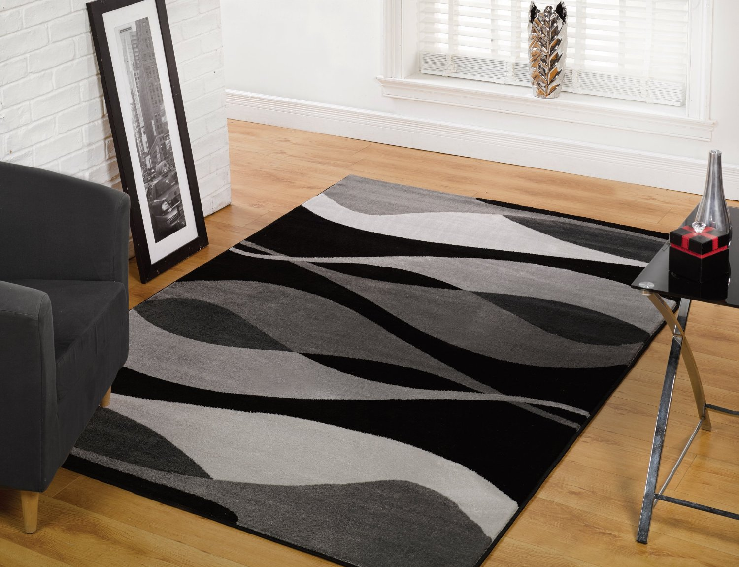 Awesome Black And Gray Area Rugs Decorated In Living Room With Cozy Armchair Office