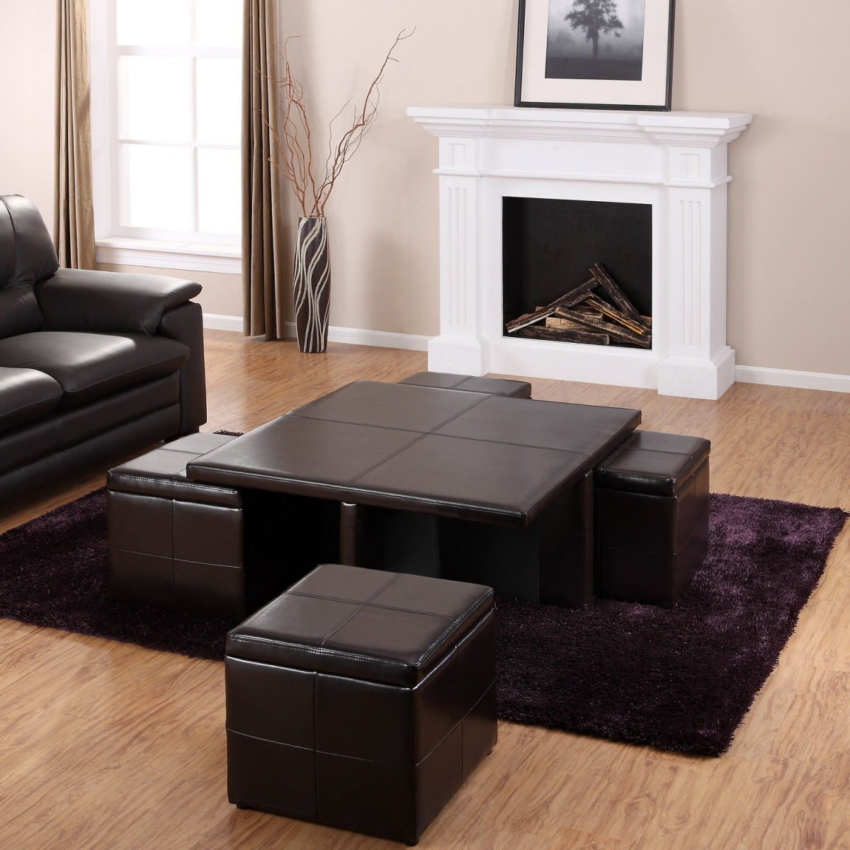 Get a compact and multi functional living room space by for Living room sofa table decorating