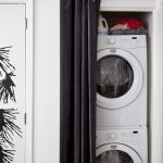 awesome small stackable washer dryer combo design on small white wall with black bold linen curtain design aside potted plant