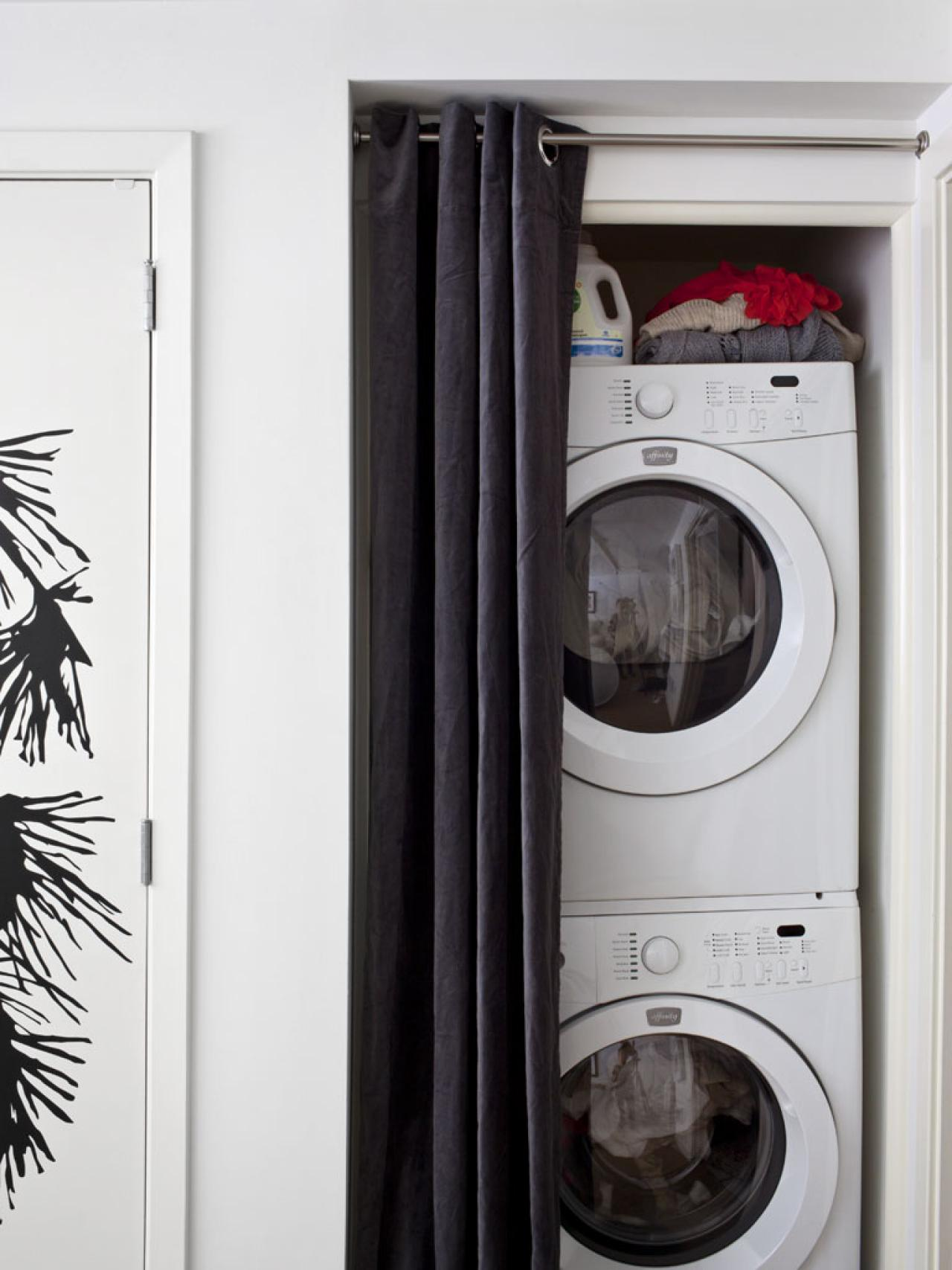 awesome small stackable washer dryer combo design on small white wall with black bold linen curtain