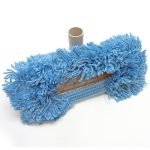 awesome soft blue best dust mop design with handle and brown accent around soft blue hairs made of wool