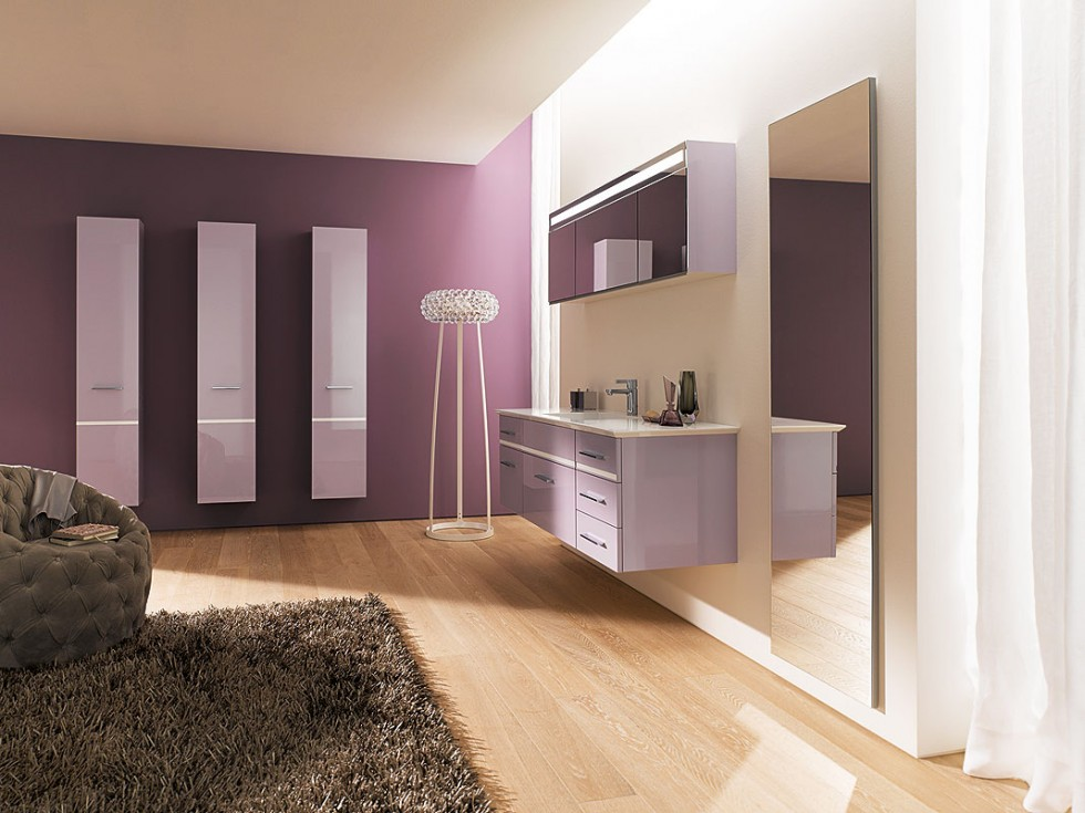 awesome spacious modern bathroom with floating vanity with wall texture and accent and round chair with gray furry rug
