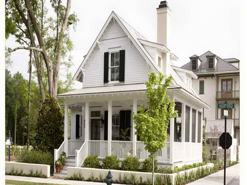 Awesome White American Southern Living House Plans With Picture Design With Church Like Roof And Staircase