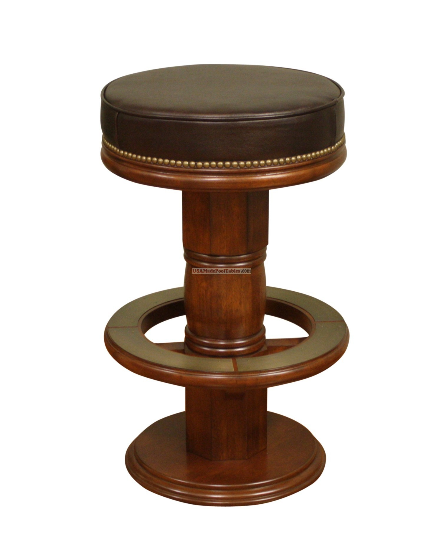 awesome wooden upholstered bar stool design with brown leather bolster and round footrest and carved woodne  sc 1 st  HomesFeed & Hang Out Stylishly and Sitting Comfortably on Upholstered Bar ... islam-shia.org