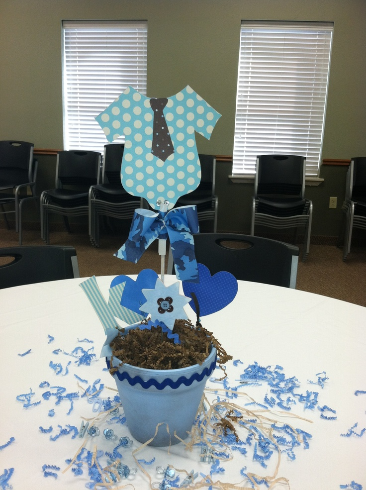 Baby boy shower centerpieces for tables that will be the for Baby shower dekoration