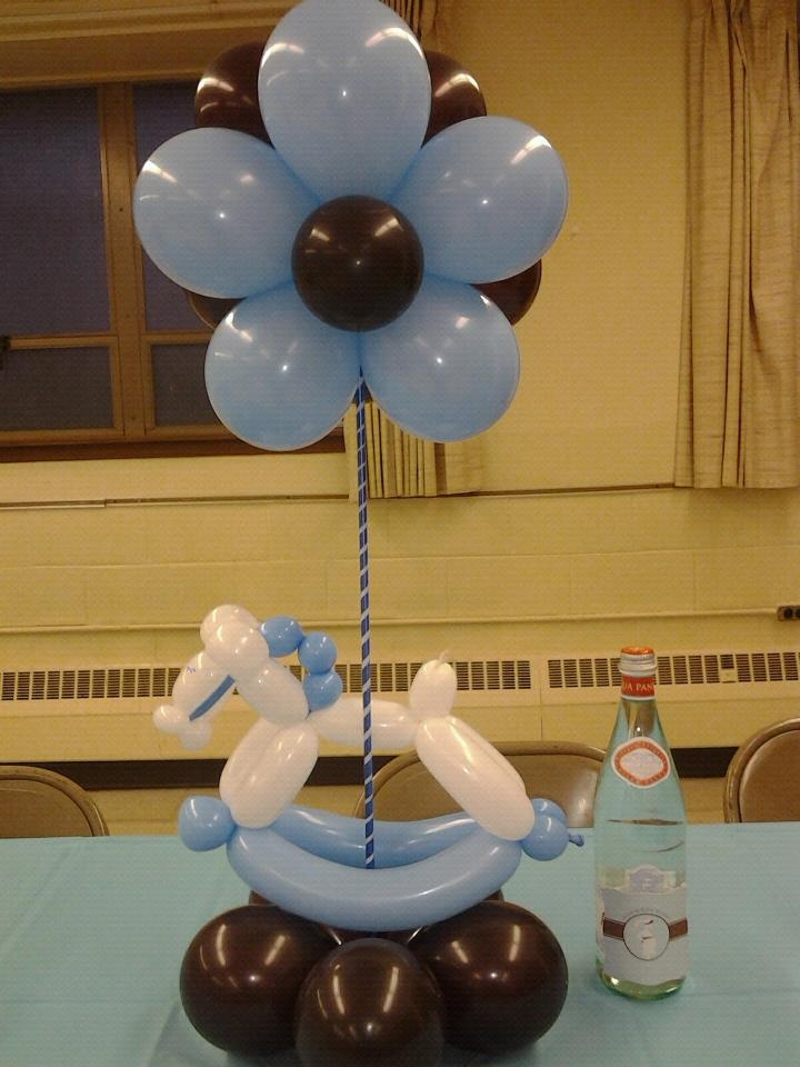 baby boy shower centerpieces for tables made from baloon with flower and horse shape & Baby Boy Shower Centerpieces for Tables that will be the Source of ...