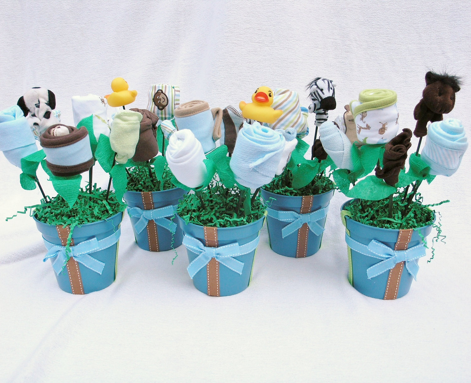 Baby Boy Shower Decorations Part - 45: Baby Boy Shower Centerpieces For Tables With Sock Or Baby Clothes Plus Blue  Pot