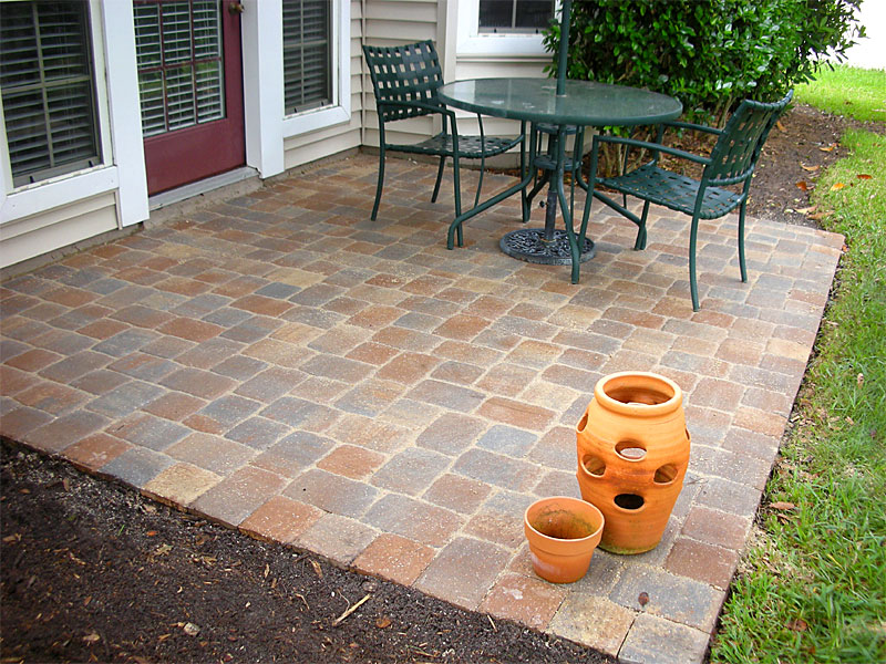 Basketweave Brick Paver Calculator For Stunning Patio With Metal Chairs And  Round Table With Umbrella Aside