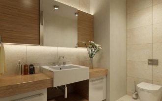 best flooring for bathroom ceramic tile with modern vanity units and sink with stylish faucet and wooden countertop and toilet plus square mirror