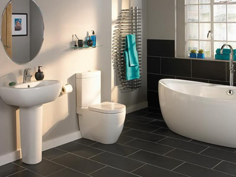 Best Flooring For Bathroom Subway Tile For Modern Bathroom Ideas With Ceramic Sink And White Bathtub