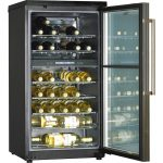 big size dual temp wine cooler design for modern need with transparent racks inner and door with stainless steel handle