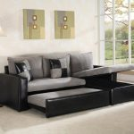 Black And Gray Sleeper Sofa For Living Room With Rarea Rug And Large Window Plus Decorative Elements On Wall