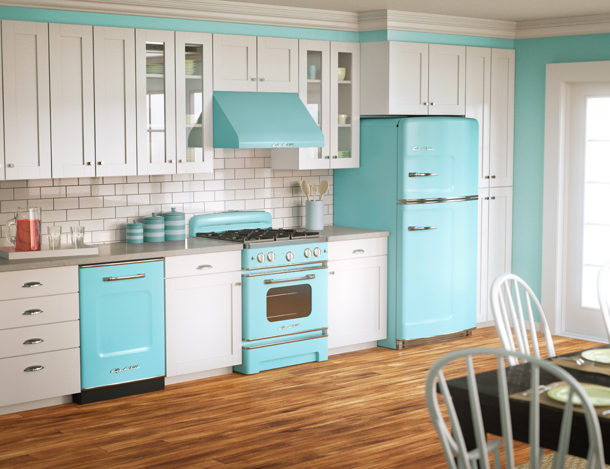 Blue Gas Stove And Cabinet And Also Blue Refrigerator Some Small Containers In Light And Darker