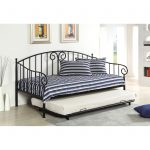 bohemin day beds with pop up trundle with white blues stripes pattern with scrolled metal backrest in modern bedroom