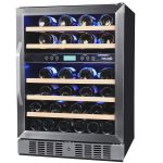 boxy dual temp wine cooler design with transparent door in one side with five racks inside