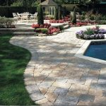 brick paver calculator for patio at the backyard with comfy seating place and beautiful garden decorated aside with pool