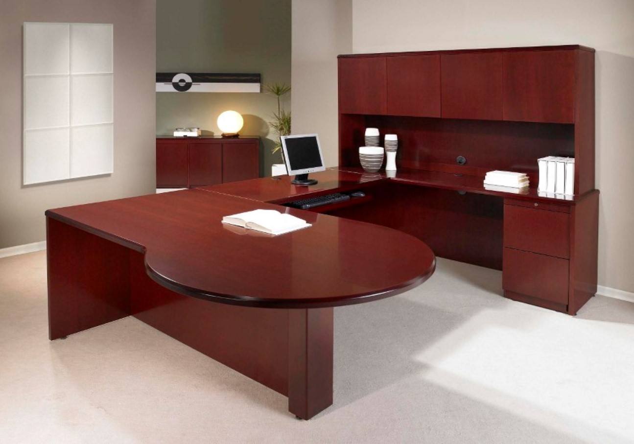 modern office look. brownies like modular desk design for modern office with large storage computer set in white look